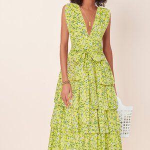 NWT Banjanan Eliza Ruffled Cotton Midi Dress Sz M